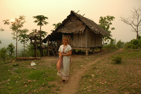 This is a traditional Karen dress. Many Karen people in Thailand and Burma still live in huts like this with less than 2 dollars a day income.